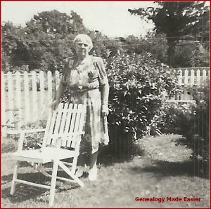 Grandma in back yard